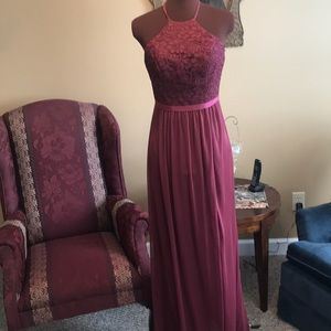 Wine gown with chiffon skirt and lace bust
